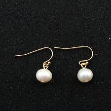 Boucles d`Oreilles Doré Petit Perle de Culture d`eau Douce Blanc Class TZ2
