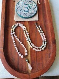 Mala Beads Rose Quartz & Amazonite 108  Yoga Meditation Necklace GypsyLee Jewels