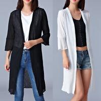 New Women Ladies Long Coat Jacket Dress 3/4 Sleeve AU Size 12 14 16 18 20 #9769