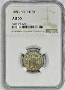 1883 Shield Nickel - NGC AU 55 !!