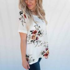 Summer Womens Lady Floral Tops Blouse Ladies Short Sleeve T-shirt Plus Size 6-20 Red 3xl