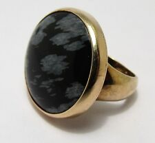 100% Genuine Vintage 9ct Solid Yellow Gold Obsidian Signet Ring Sz.4.5 US