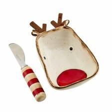 New listing Mud Pie Home Farmhouse Watercolor Christmas Reindeer Dip Bowl Serving Set