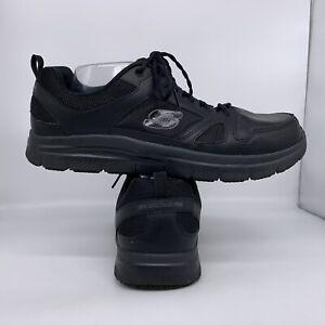 Skechers 77040EW Slip Resistant Black Lace Up Work Shoes Men Size 13 Wide Fit