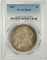 1889-P $1 MORGAN SILVER DOLLAR PCGS MS63 #38579683  GREAT LOOKING TONED COIN!!!