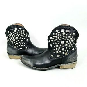 Lucky Brand Chelsea Ankle Boots Studded Distressed Black Size 7 Western Cowboy