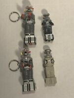 90's Lost In Space B9 Robot Collectible Lot 2-Mini Keychains and 2-Mini Figures