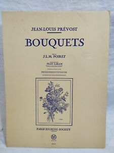 Jean-Louis Prevost Etchings, 6 Bouquets and 1 History Page in Folio 1945