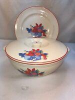 Vtg 3pc Universal Cambridge Pottery Red Trim Fruit Plate Platter Casserole Dish