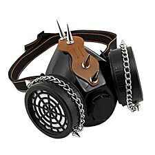 Steampunk Studded Real Gas Mask Dual Filter Respirator Haloween Party Cosplay