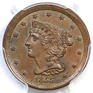 1855 PCGS MS 65 BN Braided Hair Half Cent Coin 1/2c