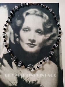 VINTAGE ART DECO CZECH BLACK CLEAR CRYSTAL BEAD NECKLACE ROLLED GOLD BEAUTIFUL