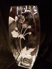 Valentines day gift Vase Elegant Hand Swarovski Crystal & Sandblasted present