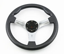 350MM JDM 6 BOLT CARBON FIBER LOOK GLOSS RACING STEERING WHEEL & HORN BUTTON