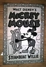 VTG STEAMBOAT WILLIE HANGING WALL TAPESTRY by DISNEY RARE HTF