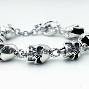 Heavy Angry Skull Bracelet 925 sterling silver 22cm 53g (Ask For Size)