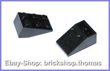 Lego 2 x Dachstein Schrägstein schwarz - 3747b - Slope Brick Black - NEU / NEW