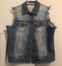 Boohoo Denim Frayed Jacket/ Vest/ Gillet: Size XS