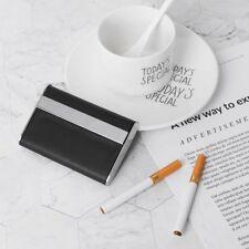 Small Black Pocket Leather Metal Tobacco Smoke Cigarette Case Holder Storage Box