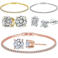 Rose Gold Plated Cubic Zirconia Tennis Bracelet 6mm Round CZ