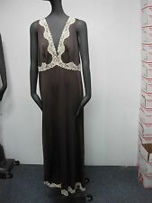 VINTAGE EMILIO PUCCI BROWN NIGHTGOWN & ROBE with LACE ~ SIZE M ~ 12-14