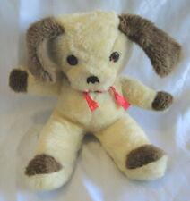"VTG 1950's RUSHTON COMPANY PLUSH PUPPY DOG,Tan-Brown,Stuffed Animal,Red Bow,13"""