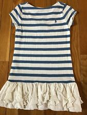 Ralph Lauren Girls Size 4 4T White & Blue Short Sleeve Ruffle Casual Party Dress