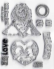 Set of 9 Wedding Love-Theme Clear Cling Stamps