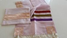 Organza Women Tallit Tallis Talit PINK WHITE Kosher Israel Great for Bat Mitzvah