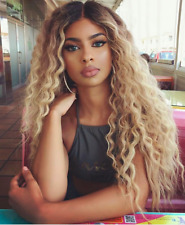 ATOZ Thick Hair Wig Long Kinky Curly Long Ombre Blonde Full Wigs For Women