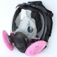 3M 6800 Full Face Gas Mask Facepiece Respirator W/ 2PCS 3M 2091 P100 Filters Set