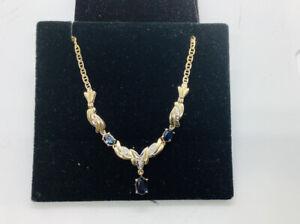 "Vintage,estate  Sapphire & Diamonds ""V"" Lariat 14k Gold Necklace 18"""