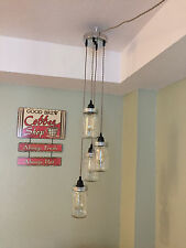 Mason Jar Chandelier Swag Light - Chrome Canopy, Sand Twisted Cord     PLUG IN!