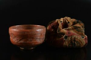 L7654: Japanese Old Raku-ware Red glaze TEA BOWL with Cover Shifuku, auto
