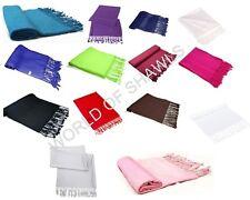 New Ladies  Plain Pashmina Scarf Viscose Wrap Shawls Hijabs **Factory Seconds**