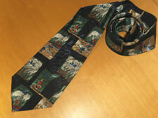 Mens Navy Vintage  Hand Made Tie - By Victory - Winter Theme  - New - Never Worn