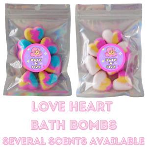 Mini Bath Bomb Love Hearts Bath Bombs Fizzers Marshmallow, Candyfloss, Peach