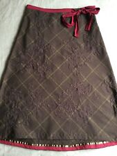 White Stuff Chocolate Check Claret Ribbon Skirt Sz10