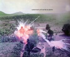 """Napalm bombs explode on Viet Cong structures 8""""x 10"""" Vietnam War Photo 60"""