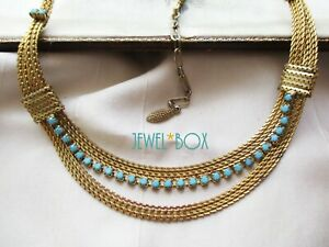VINTAGE GOLDEN MESH CHAIN TURQUOISE RHINESTONE  Multi Strand NECKLACE by SPHINX