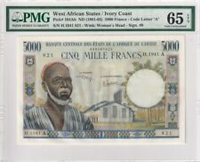 1961-65 West African Sates/Ivory Coast 5000 Francs P-104Ah PMG 65 EPQ Gem UNC