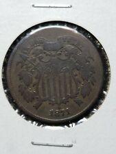 1871 two cent piece 2c antique bronze coin