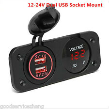 Waterproof 2Hole Panel Car SUV Dual USB RED LED Charger Outlet Socket Voltmeter