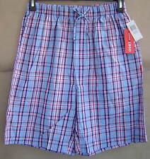 NWT IZOD Mens M 32 34 PEARL BLUE PLAID Woven Sleep Shorts Cotton Pajamas