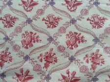 Antique vintage French floral printed cotton fabric faded shabby chic dolls