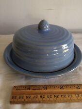 Bauer Pottery Ring Dome Butter Delph Blue glaze circa 1930's