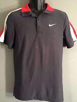 Nike Dri-Fit Mens Size Small S Solid Gray Orange White Short Sleeve Polo Shirt