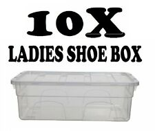 10x Ladies Shoe Box Plastic Storage Stacking Clear Boxes Transparent Unit W Lids