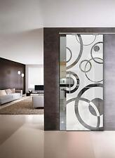 """Glass Sliding Door  """" Circles """" Glass 8 mm (640 x 2050 ) with Pull Bar T handles"""