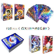 120pcs Cartes De Pokemon 115 GX + 5 Méga Holo Cartes Collection Flash Lot Mixte